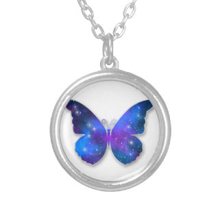 Galaxy butterfly cool dark blue illustration silver plated necklace