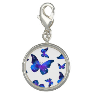 Galaxy butterfly cool dark blue pattern