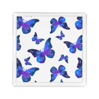 Galaxy butterfly cool dark blue pattern acrylic tray