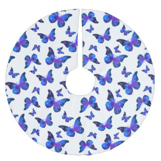 Galaxy butterfly cool dark blue pattern brushed polyester tree skirt