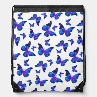 Galaxy butterfly cool dark blue pattern drawstring bag