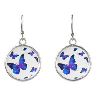 Galaxy butterfly cool dark blue pattern earrings