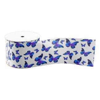 Galaxy butterfly cool dark blue pattern grosgrain ribbon