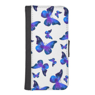 Galaxy butterfly cool dark blue pattern iPhone SE/5/5s wallet case