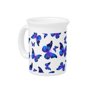Galaxy butterfly cool dark blue pattern pitcher