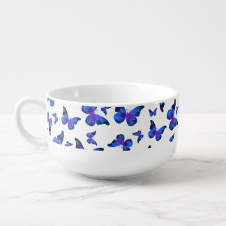 Galaxy butterfly cool dark blue pattern soup mug