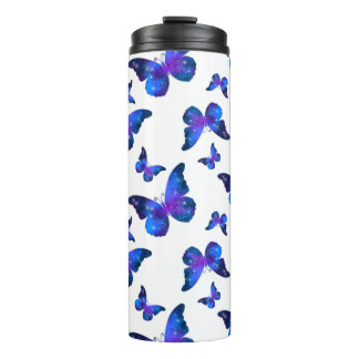 Galaxy butterfly cool dark blue pattern thermal tumbler