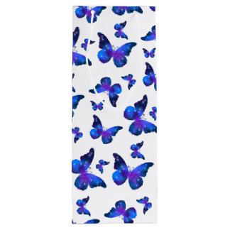 Galaxy butterfly cool dark blue pattern wine gift bag