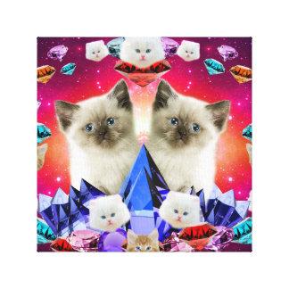 galaxy cat in diamond canvas print