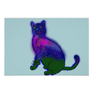 Galaxy Cat Playing Poster