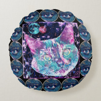 Galaxy Cat Round Cushion
