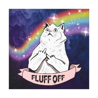 Galaxy Cat Says Fluff Off Canvas Print