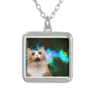 GALAXY CAT SILVER PLATED NECKLACE