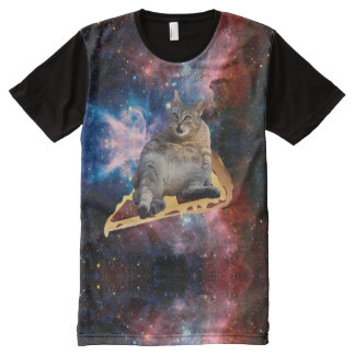 Galaxy Cat Surfing on Pizza All-Over Print T-Shirt