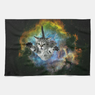 Galaxy Cat Universe Kitten Launch Kitchen Towel