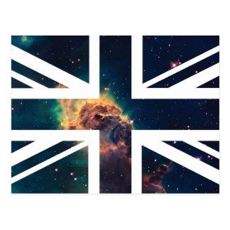 Galaxy Cloud Union Jack British UK Flag Post Card