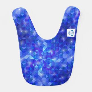Galaxy crystal Blue polygonal facet pattern Bib