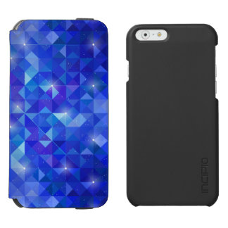Galaxy crystal Blue polygonal facet pattern Incipio Watson™ iPhone 6 Wallet Case