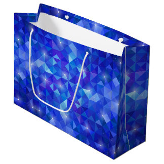 Galaxy crystal Blue polygonal facet pattern Large Gift Bag