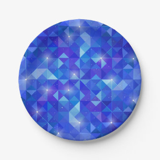 Galaxy crystal Blue polygonal facet pattern Paper Plate