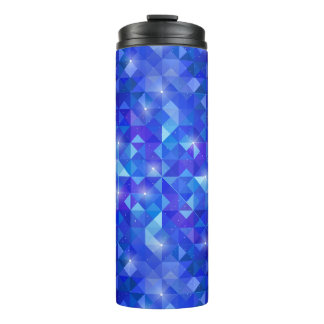 Galaxy crystal Blue polygonal facet pattern Thermal Tumbler