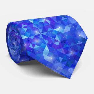 Galaxy crystal Blue polygonal facet pattern Tie