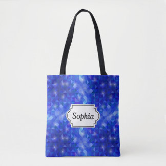 Galaxy crystal Blue polygonal facet pattern Tote Bag