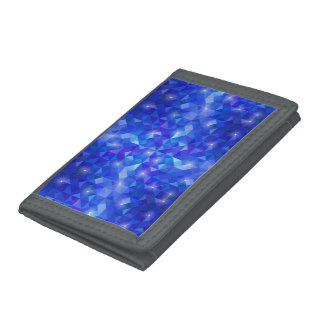 Galaxy crystal Blue polygonal facet pattern Trifold Wallets