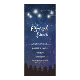 Galaxy fairy lights rehearsal dinner invitations