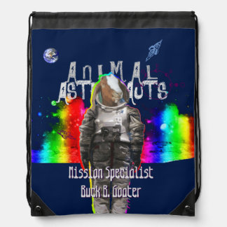 Galaxy Goat Animal Astronaut in Rainbow Universe Drawstring Backpacks