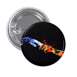Galaxy Hand and Flaming Hand Holding button 1 Inch Round Button