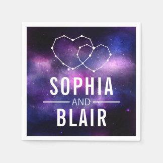 Galaxy Hearts Constellation Wedding Personalized Disposable Serviette