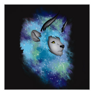 Galaxy Horned Lion Poster