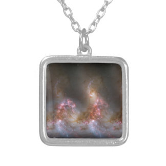 Galaxy Nebula Print Silver Plated Necklace