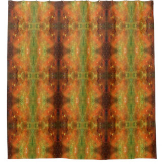 Galaxy Orange and Green Shower Curtain