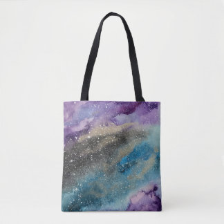 Galaxy Outer Space Watercolor Tote