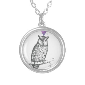 Galaxy owl 1 silver plated necklace