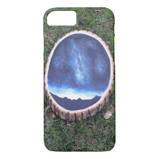 galaxy painting on wood phone case