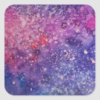 Galaxy painting pink and blue square sticker