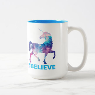 Galaxy Pattern Unicorn Believe Design Two-Tone Coffee Mug