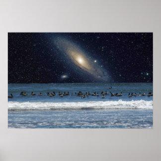 Galaxy Pelicans Poster