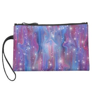 Galaxy pink beautiful night starry sky image suede wristlet