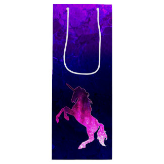 Galaxy pink beautiful unicorn sparkly image wine gift bag