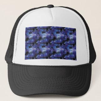 galaxy pixel art in blue trucker hat