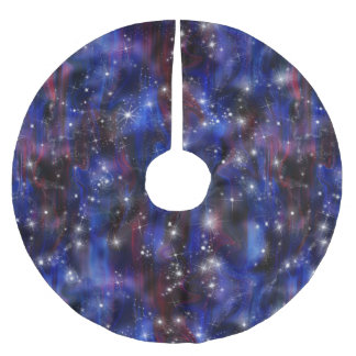Galaxy purple beautiful night starry sky image brushed polyester tree skirt