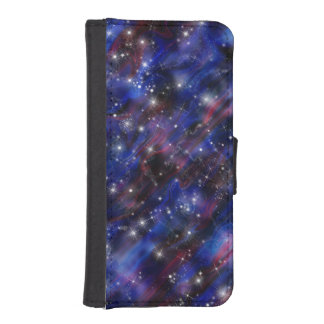 Galaxy purple beautiful night starry sky image iPhone SE/5/5s wallet case