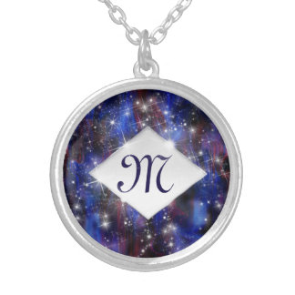 Galaxy purple beautiful night starry sky monogram silver plated necklace