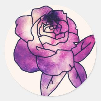 Galaxy Rose Round Sticker