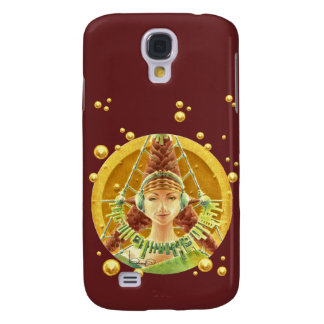 Galaxy S4 Case - Portrait with headphones/Red