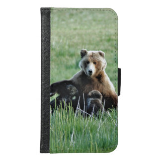 Galaxy S6 Wallet Case w/ grizzly bear and cubs